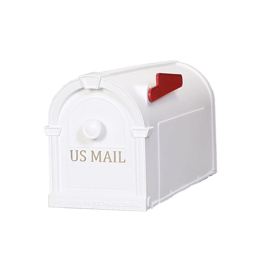 Postal Pro Hampton 8-in x 10-in Plastic White Post Mount Mailbox