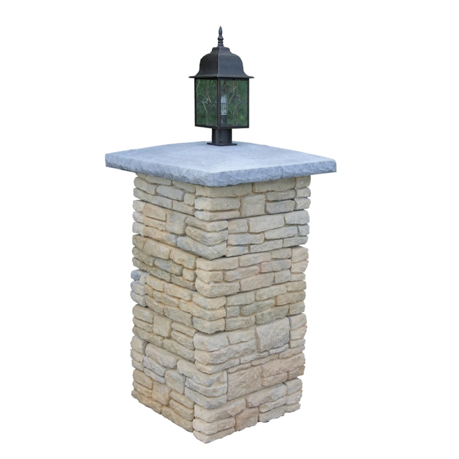 Nantucket Pavers Meadow Wall Pier with Light Cap Tan Variegated Pillar Patio Block Project Kit