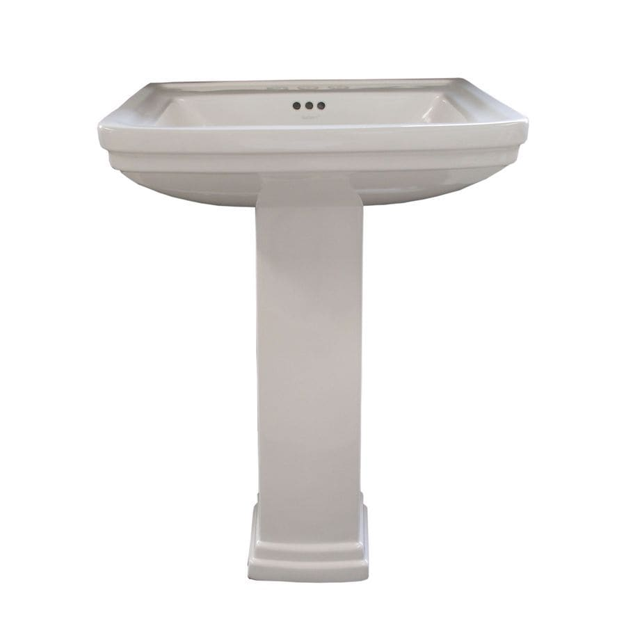 AquaSource 33.1-in H White Vitreous China Pedestal Sink