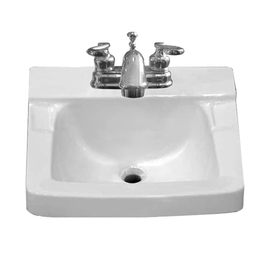 Aquasource White Wall Mount Square Bathroom Sink With Overflow