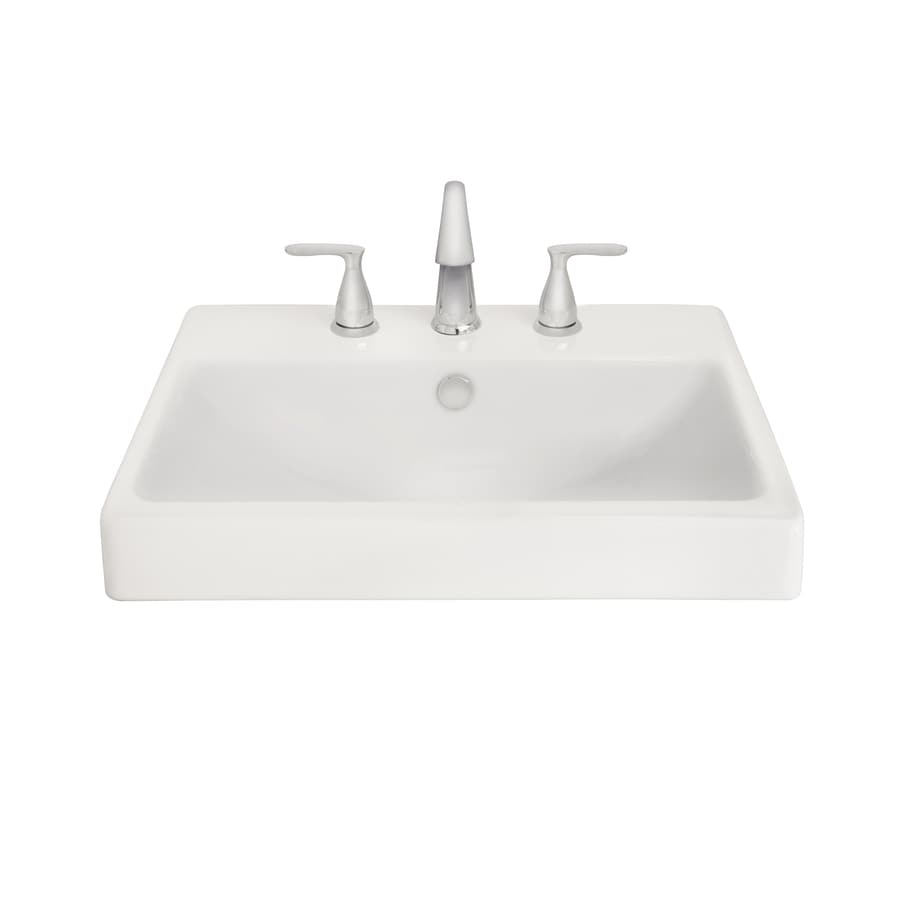 Shop AquaSource White Fire Clay Drop-in Rectangular Bathroom Sink With Overflow At Lowes.com