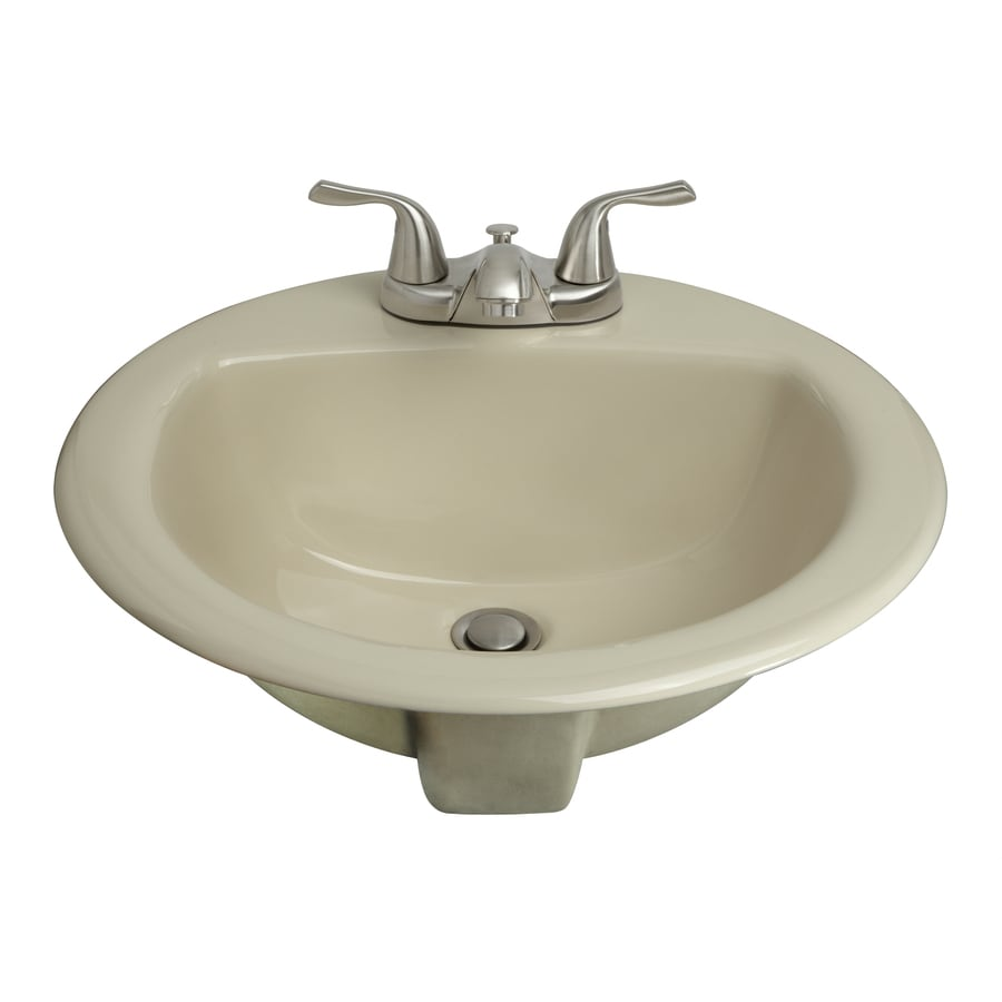 AquaSource Biscuit Drop In Round Bathroom Sink With Overflow