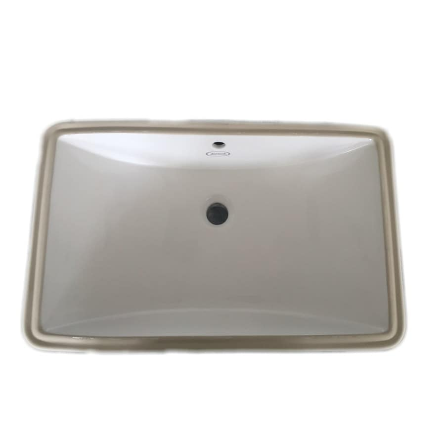 jacuzzi mika white ceramic undermount rectangular bathroom sink with overflow