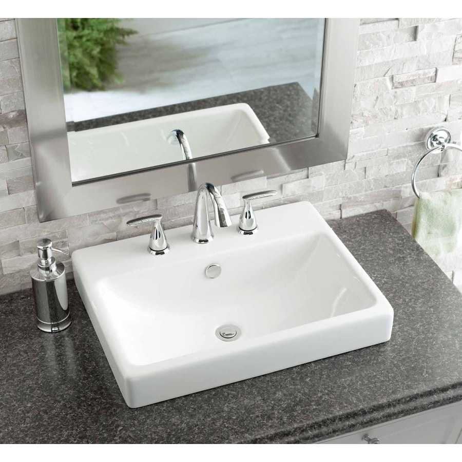 Shop Jacuzzi Anna White Ceramic Drop In Rectangular Bathroom Sink With Overflow At