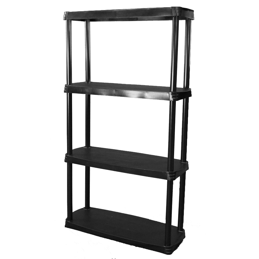 shelving units lowes shop blue hawk 45 in h x 24 in w x 14 in d 4 tier plastic 26054