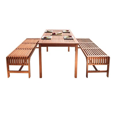 Amazing Vifah Malibu Outdoor 3 Piece Wood Patio Dining Set With Gmtry Best Dining Table And Chair Ideas Images Gmtryco