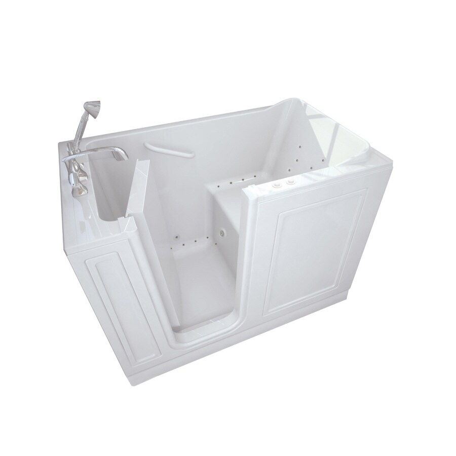 American Standard Walk-In Baths Walk-in Bath 50-in L x 26-in W x 37-in H White Acrylic Rectangular Walk-in Whirlpool Tub and Air Bath
