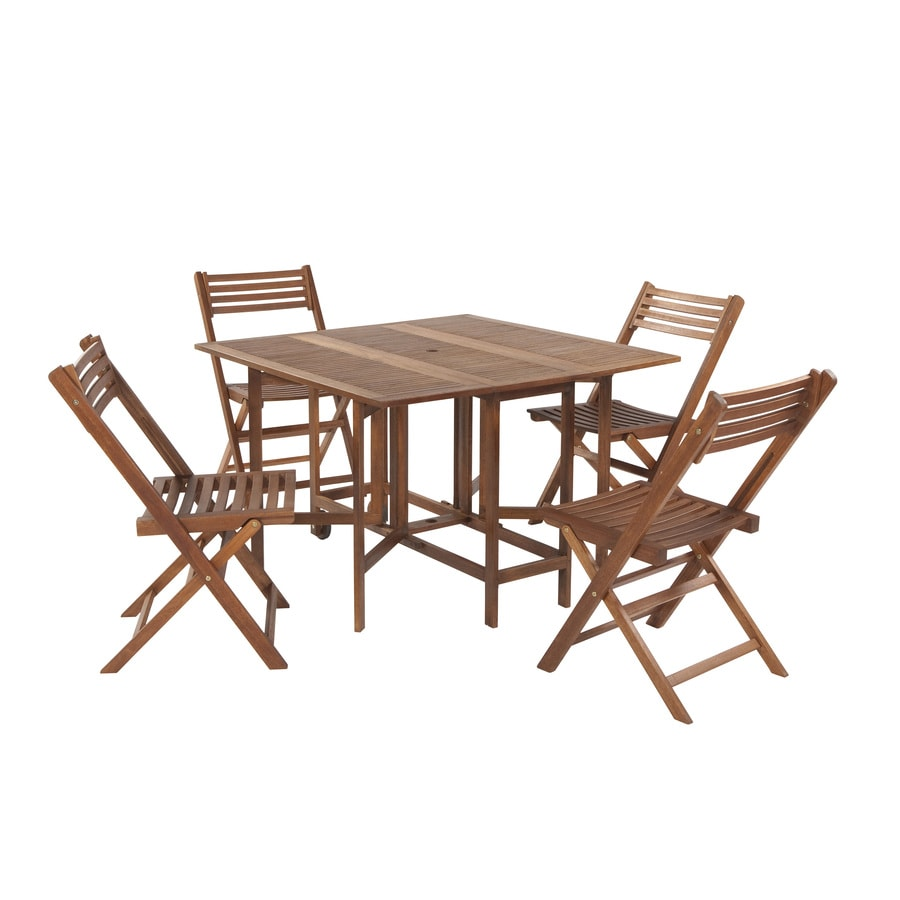 Garden Treasures 5-Piece Slat Seat Wood Patio Dining Set