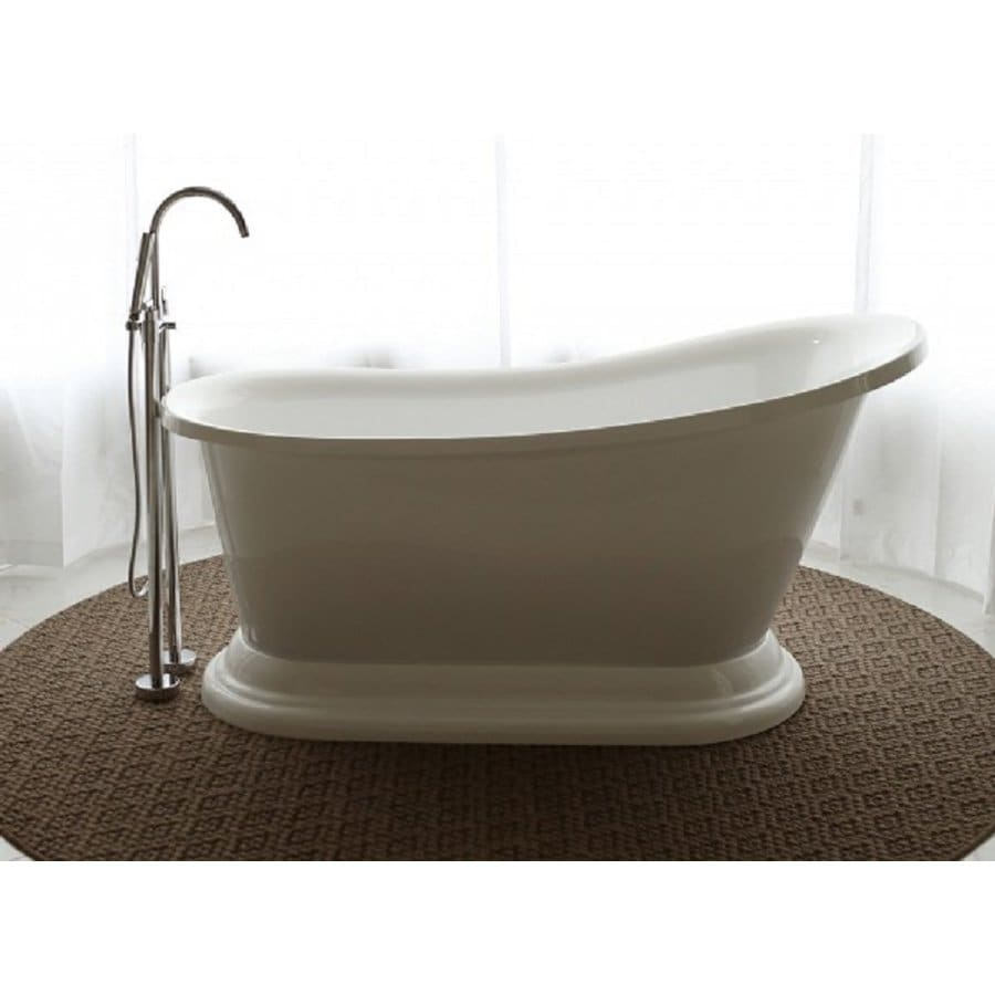 Home and Garden Freestyle 70-in White Acrylic Freestanding Bathtub with Reversible Drain