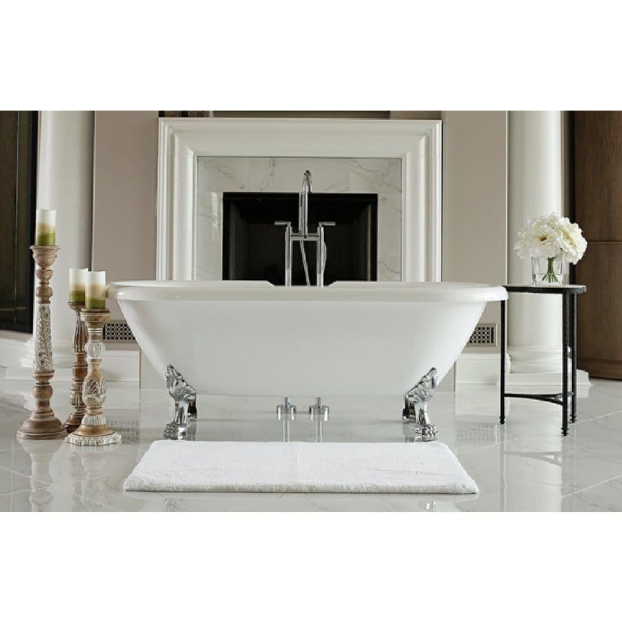Home and Garden Freestyle 70-in White Acrylic Freestanding Bathtub with Center Drain