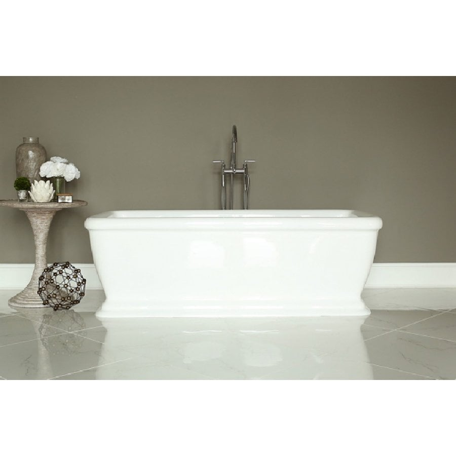 Home And Garden Freestyle 69 In White Acrylic Rectangular Center Drain  Freestanding Bathtub