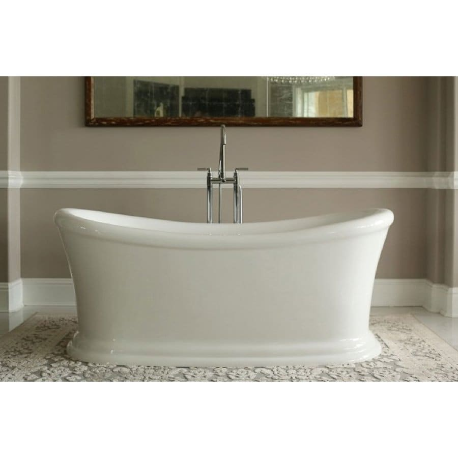 Home and Garden Freestyle 67-in White Acrylic Freestanding Bathtub with Center Drain