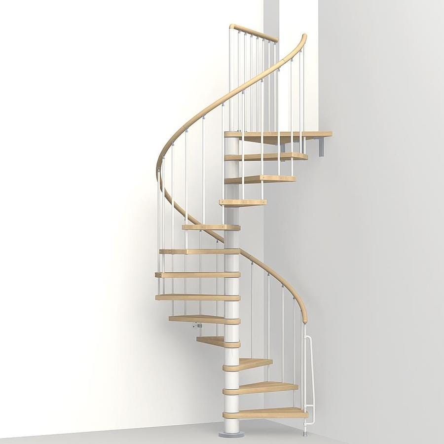 arke phoenix 47 in x 10 ft white spiral staircase kit at