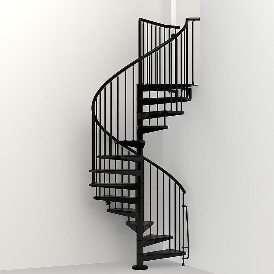 Arke Civik 63 In X 10 Ft Black Spiral Staircase Kit