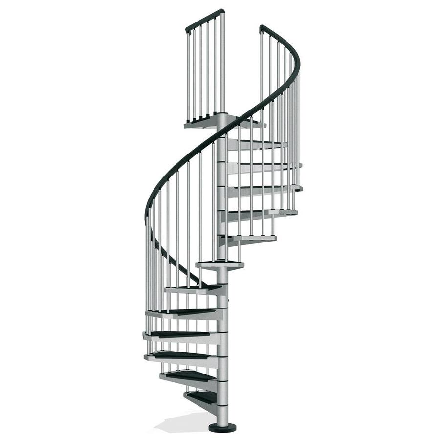 Shop arke civik 63 in x 10 ft gray spiral staircase kit at - Exterior metal spiral staircase cost ...