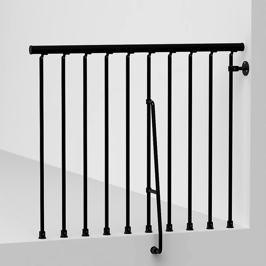Arke Civik 3.9 Ft Black Painted Steel Stair Railing Kit