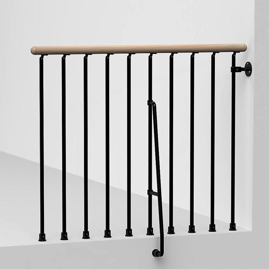 shop arke phoenix 3 9 ft black painted steel stair railing
