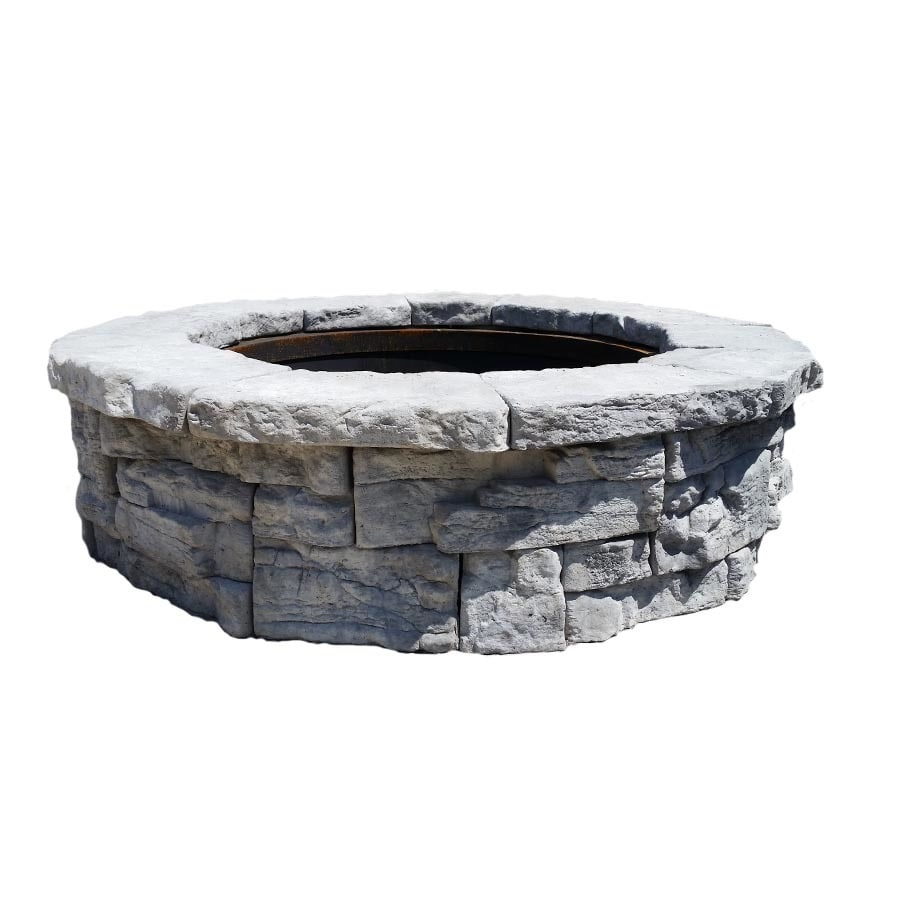 58 in w x 58 in l limestone wet cast concrete fire pit kit. Black Bedroom Furniture Sets. Home Design Ideas