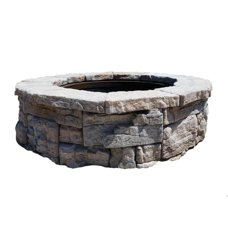 Shop 58 in w x 58 in l ridgestone wet cast concrete fire for Precast concrete outdoor fireplace kits