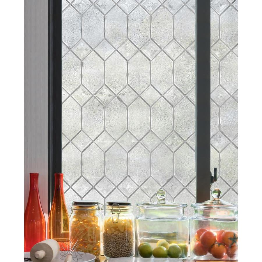 In l textured old english privacy decorative static cling window film