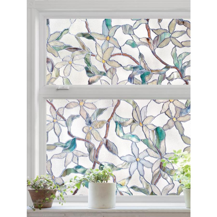 Amazing Decorative Window Film Ideas Artscape Jasmine 24-in W x 36-in L Textured Stained Glass Privacy-Decorative  Window Film