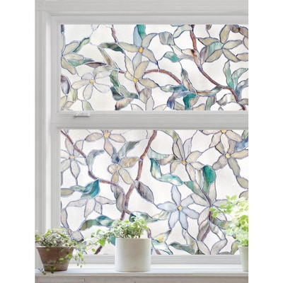 Decorative Window Film Lowes.Jasmine 24 In W X 36 In L Textured Stained Glass Privacy Decorative Window Film