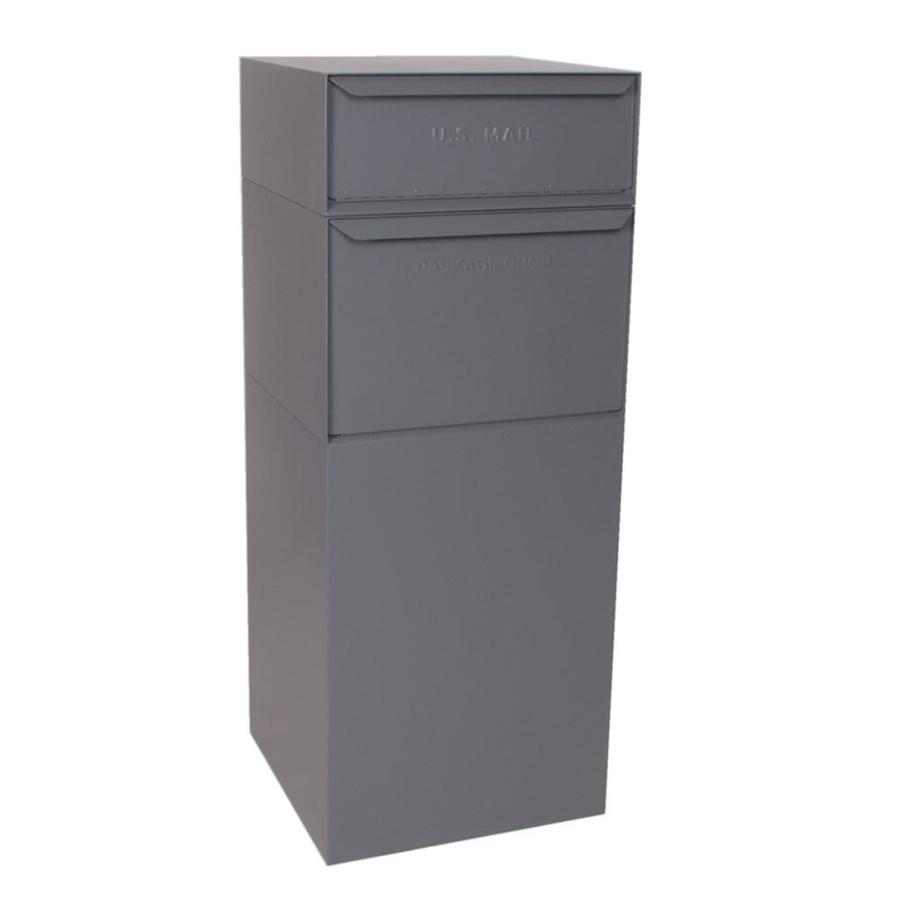 dVault 19-in x 47.75-in Metal Gray Lockable Ground Mount Mailbox