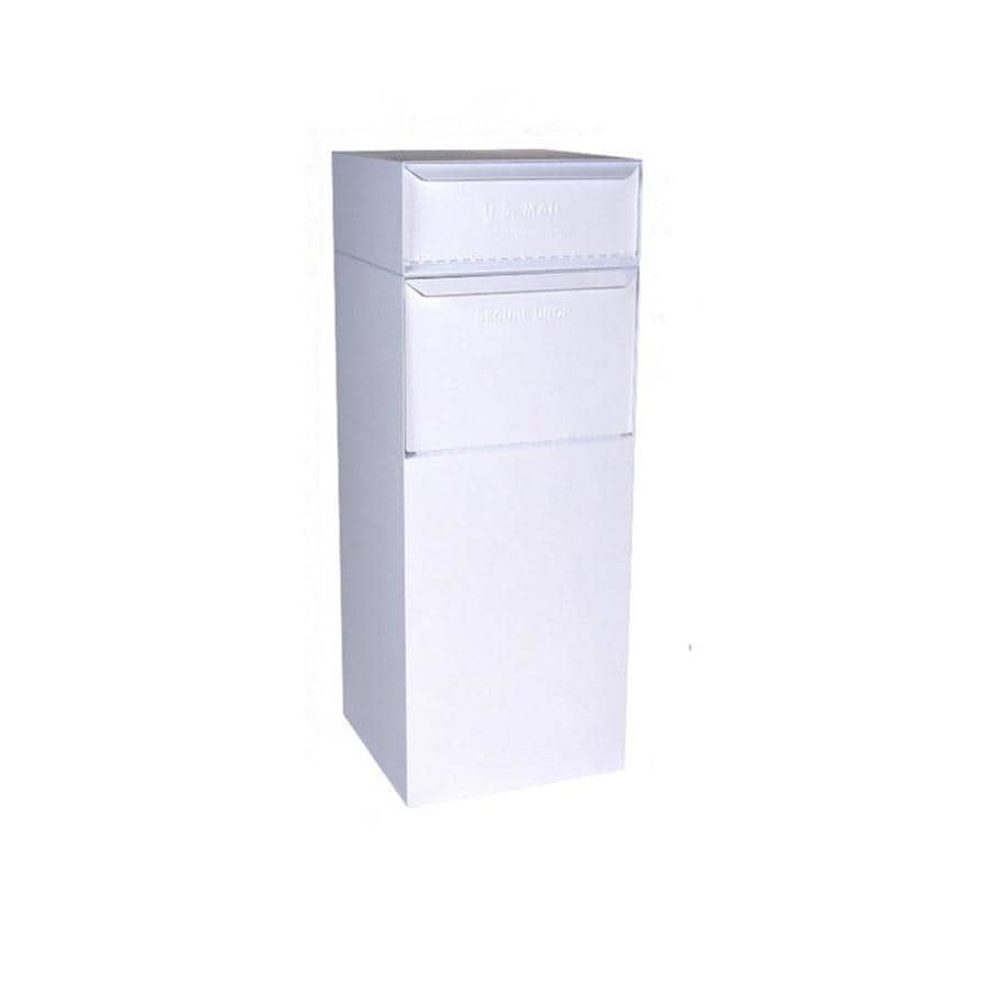dVault 19-in x 47.75-in Metal White Lockable Ground Mount Mailbox