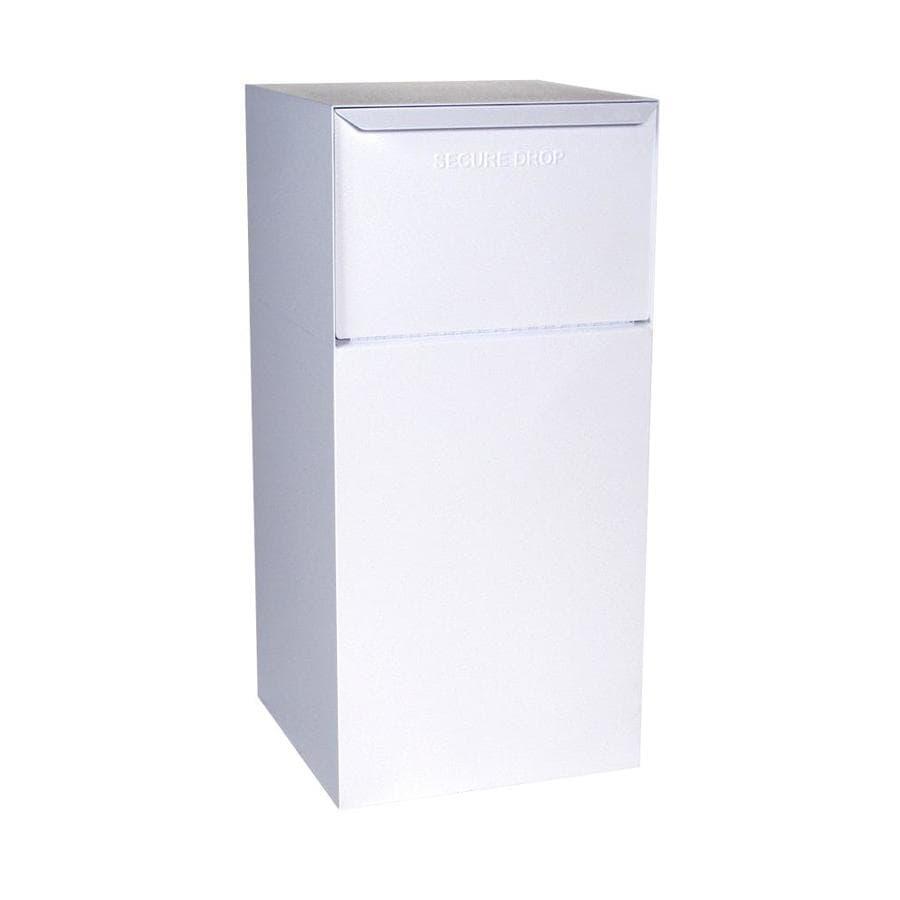 dVault 19-in x 40-in Metal White Lockable Ground Mount Mailbox