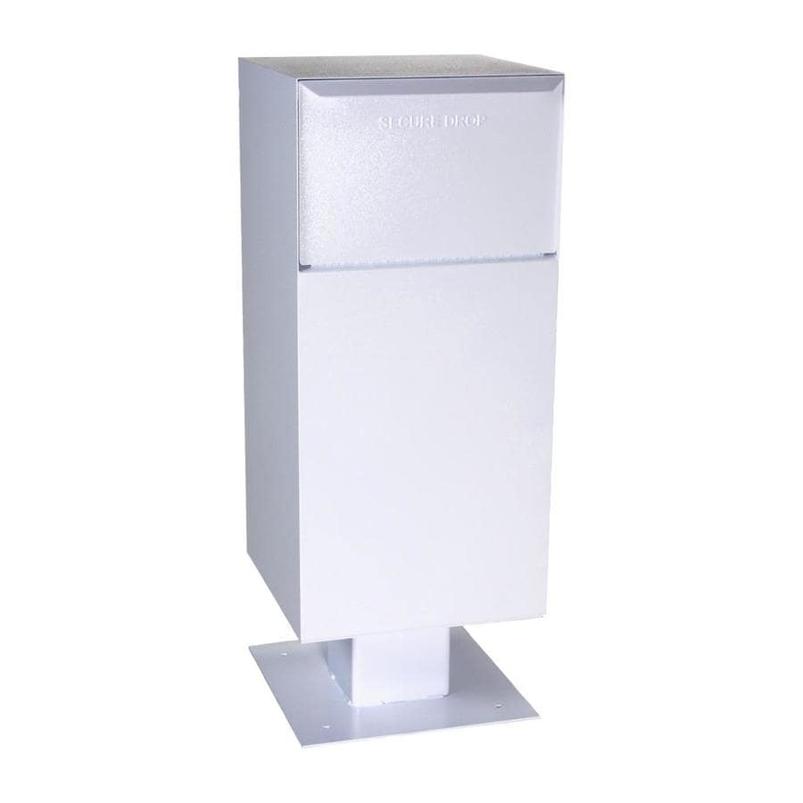 dVault 19-in W x 52-in H Metal White Lockable Post Mount Mailbox