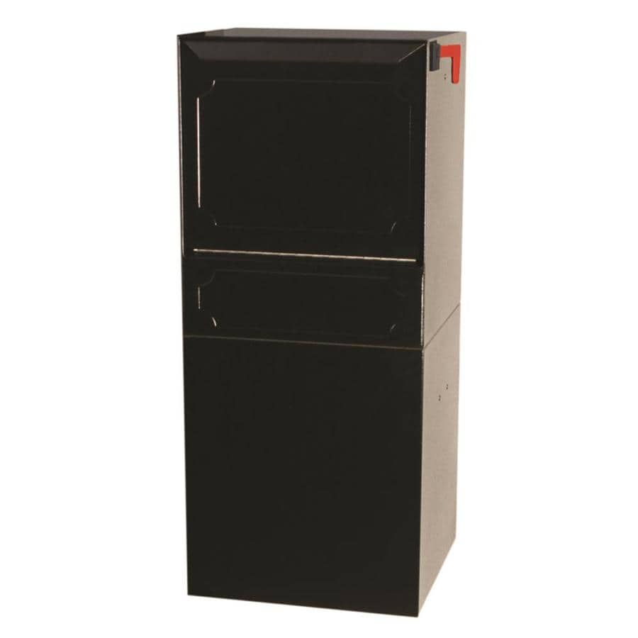 dVault 14.5-in x 34.25-in Metal Black Lockable Post Mount Mailbox