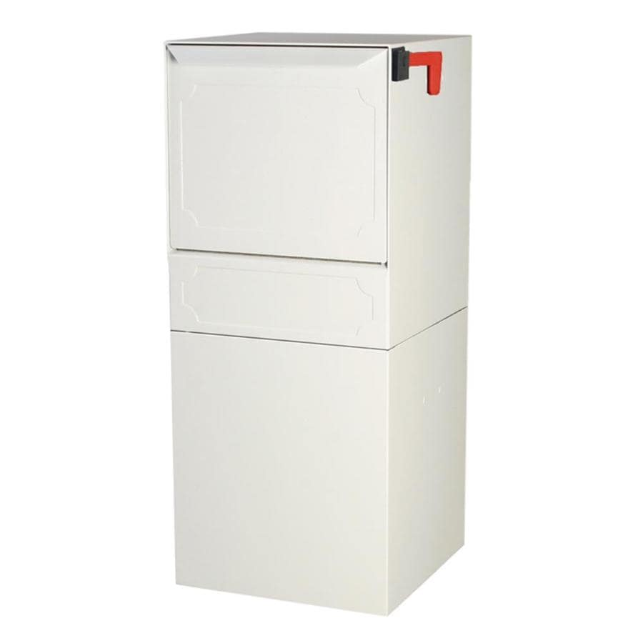 dVault 14.5-in x 34.25-in Metal White Lockable Post Mount Mailbox
