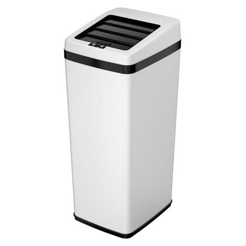 14-Gallon White Metal Touchless Trash Can with Lid