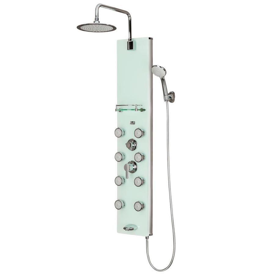 Shop Pulse Lahaina 4 Way White Glass With Chrome Fixtures Shower Panel System At Lowes Com