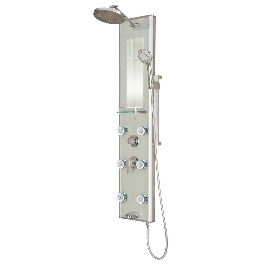 PULSE Kihei Ii 4-Way Silver Glass with Chrome Fixtures Shower Panel System