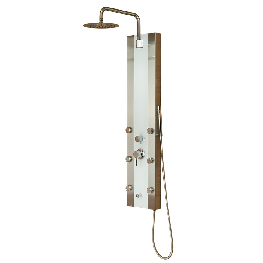 PULSE Tropicana 4-Way Brushed Stainless-Steel with Sea-Foam Colored Glass and Brushed-Nickel Fixtures Shower Panel System