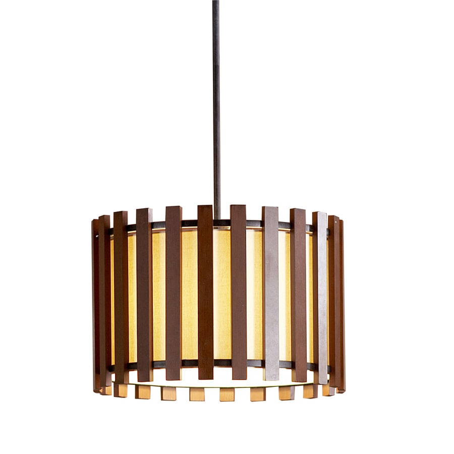 allen + roth 17.75-in Pecan Rustic Single Pendant