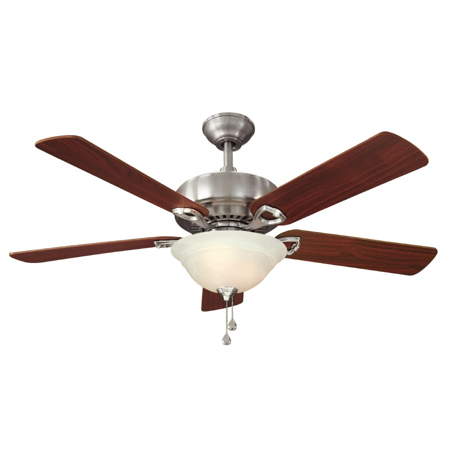 Shop Harbor Breeze 52 In Halston Ii Brushed Nickel Indoor Ceiling Fan With Light Kit At
