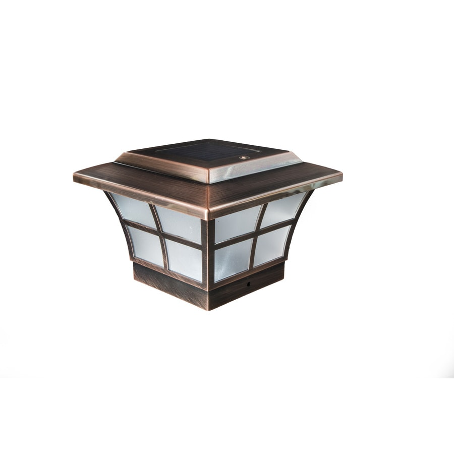 Classy Caps Prestige Copper Solar LED Copper Deck Post Caps (Fits Common Post Measurement: 4-in x 4-in; Actual: 5-in x 7-in x 7-in)