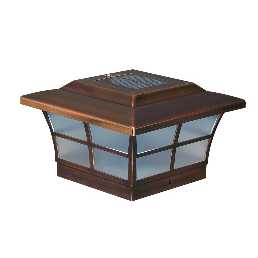 Classy Caps (Fits Common Post Measurement: 6-in x 6-in; Actual: 5-in x 8.75-in x 8.75-in) Prestige Solar LED Copper Deck Post Cap