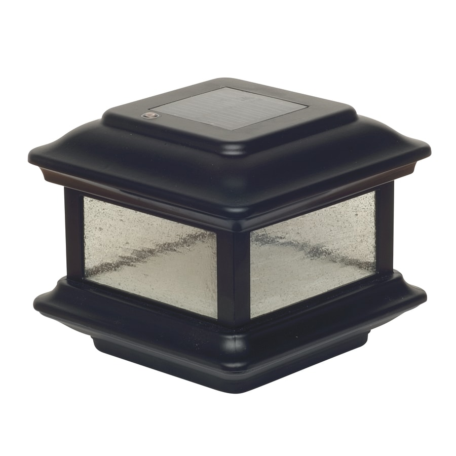 Classy Caps (Fits Common Post Measurement: 4-in x 4-in; Actual: 5-in x 6-in x 6-in) Colonial Black Solar LED Aluminum Deck Post Cap