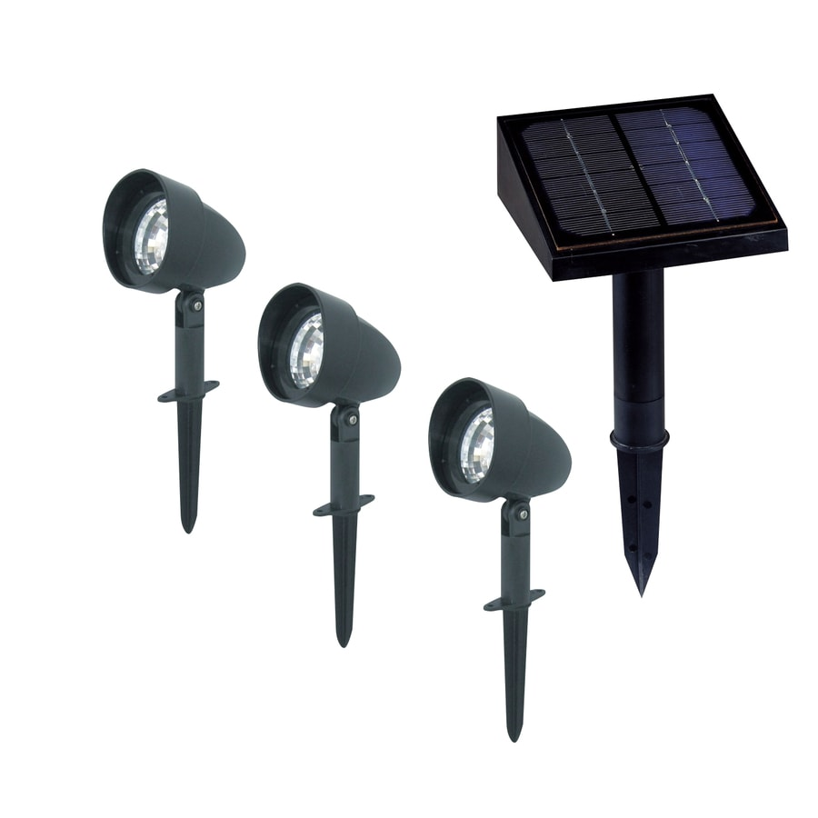 Classy Caps 12x 0.07-Watt Black Solar LED Landscape Flood Light
