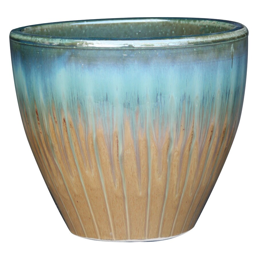 Garden Treasures 11.8-in x 12.2-in Tan/Blue Ceramic Planter