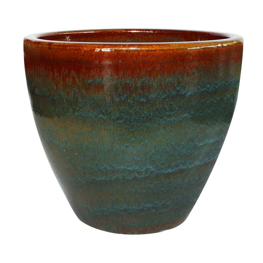 allen + roth 15.1-in x 15.2-in Blue/Gray Ceramic Planter