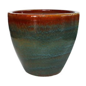 allen + roth 15.1-in W x 15.2-in H Blue/Gray Ceramic Planter