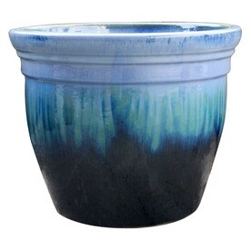Allen + Roth 10.6 In X 9 In Blue/Green Ceramic Planter