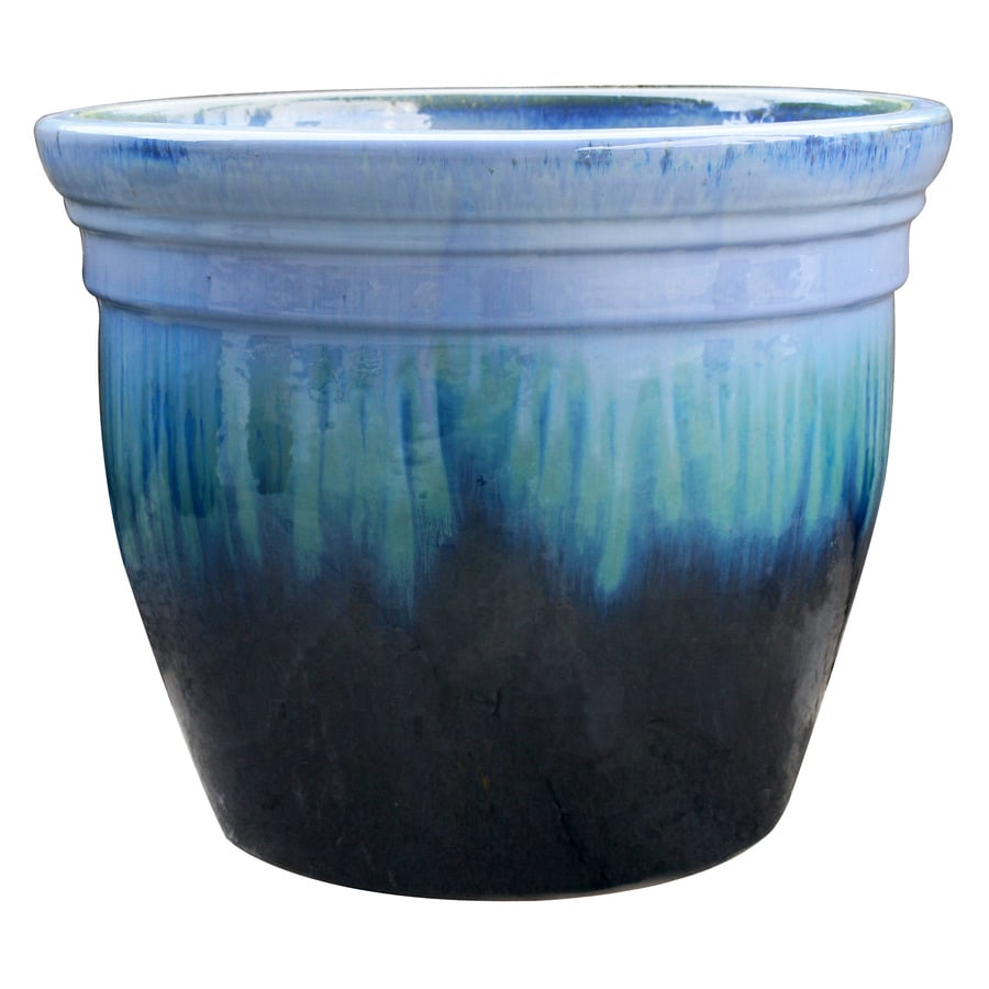 allen + roth 13-in x 12.2-in Blue/Green Ceramic Planter