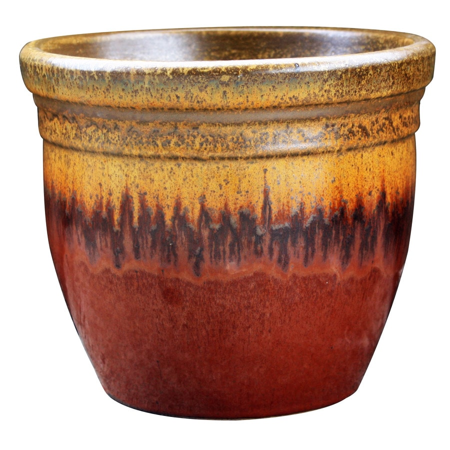 allen + roth 13-in x 12.2-in Red/Gold Ceramic Planter