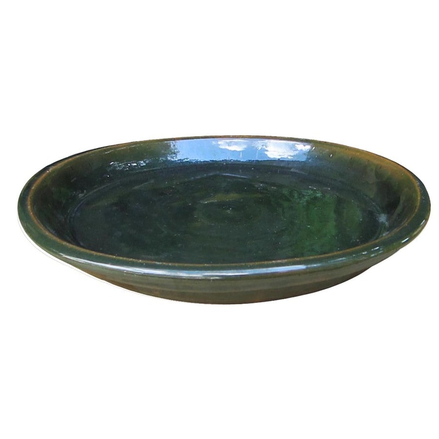 allen + roth 11-in Green Ceramic Plant Saucer