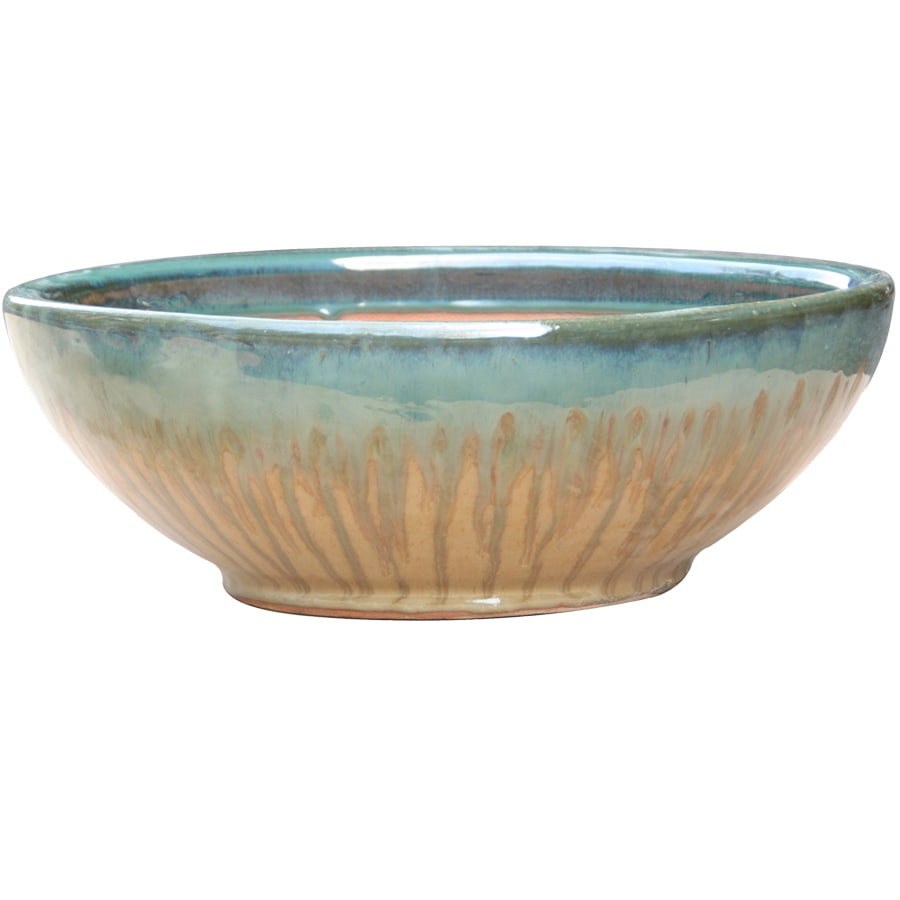 Garden Treasures 13 In X 5.7 In Tan/Blue Ceramic Low Bowl Planter